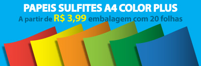 Papel sulfite a4 color plus a partir de r$ 3,99