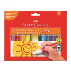 Canetinha Hidrográfica Jumbo 12 cores Faber-Castell