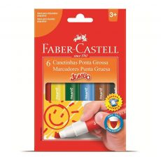 Canetinha Hidrográfica Jumbo 6 cores Faber-Castell